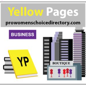 Color illustration of Yellow Pages books, skyscrapers, and businesses for an ad. Writers Arcanum -