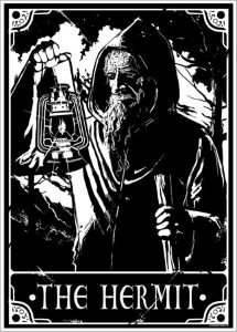Tarot card illustration of The Hermit in black and white. Writers Arcanum Group of Sacramento -